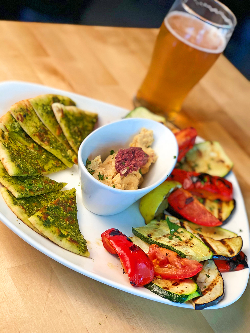 Hops & Sessions Garlic Hummus and Grilled Vegetables